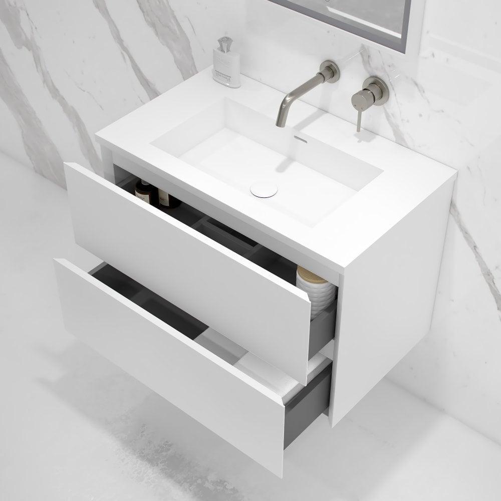 Matte White 800mm Bathroom Vanity Unit Luxurious Bathroom Storage