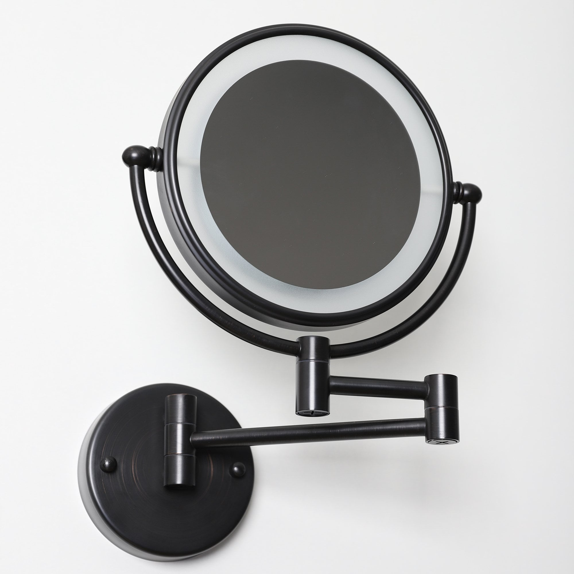 Lusso Wall Mount Cosmetic Mirror Led Brushed Matte Black Accessories