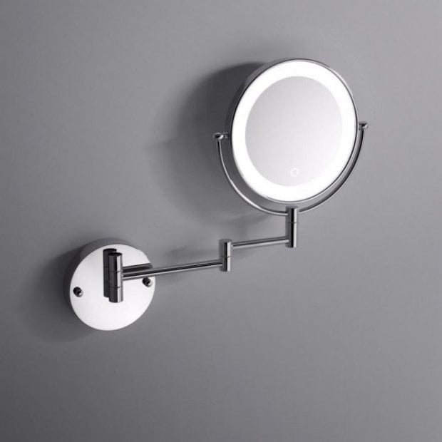 Lusso Wall Mount Cosmetic Mirror LED Chrome