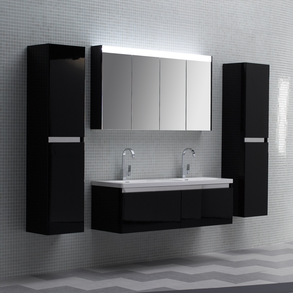 ... Stone noire double designer bathroom wall mounted vanity unit 1500