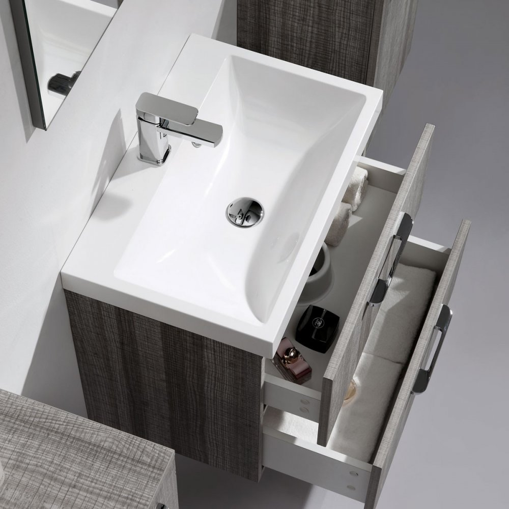 Milano stone ash grey designer palazzo vanity unit - Designer wall hung bathroom vanity units ...