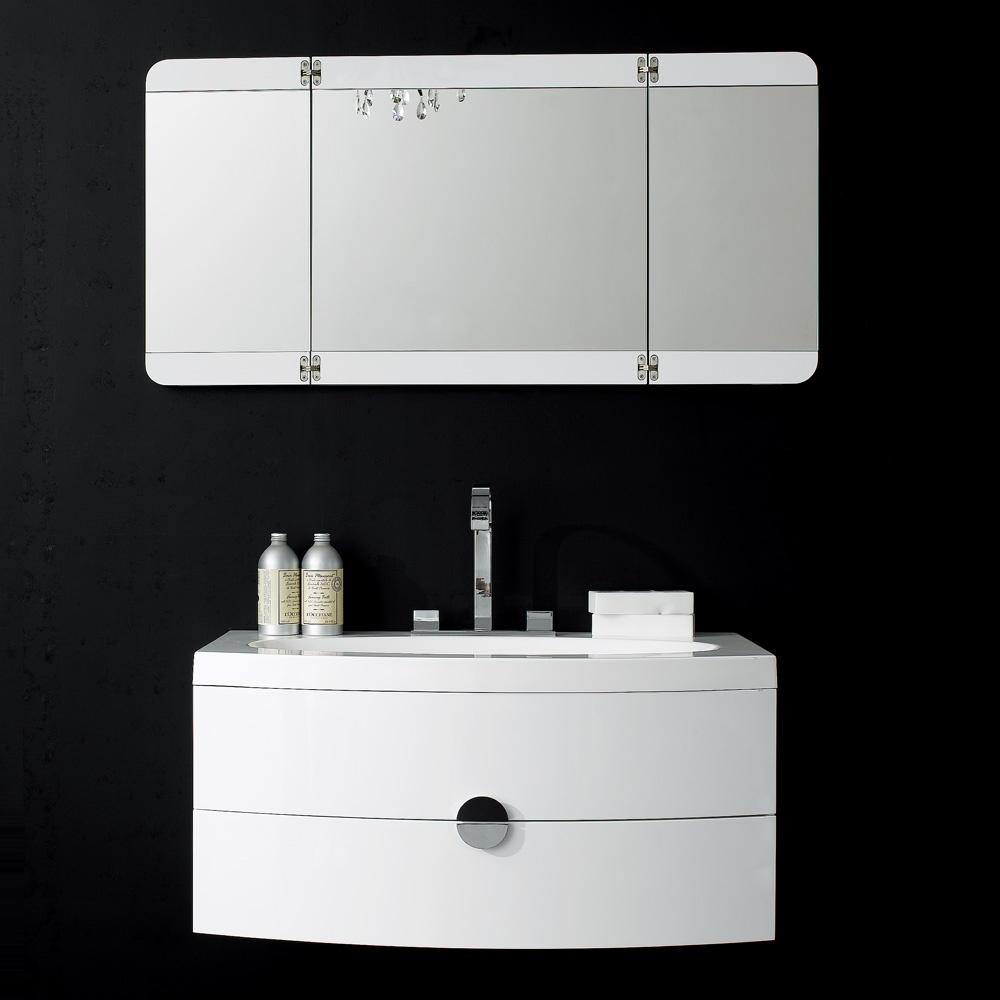 Milano Stone Gloss White Wall Mounted Vanity Unit