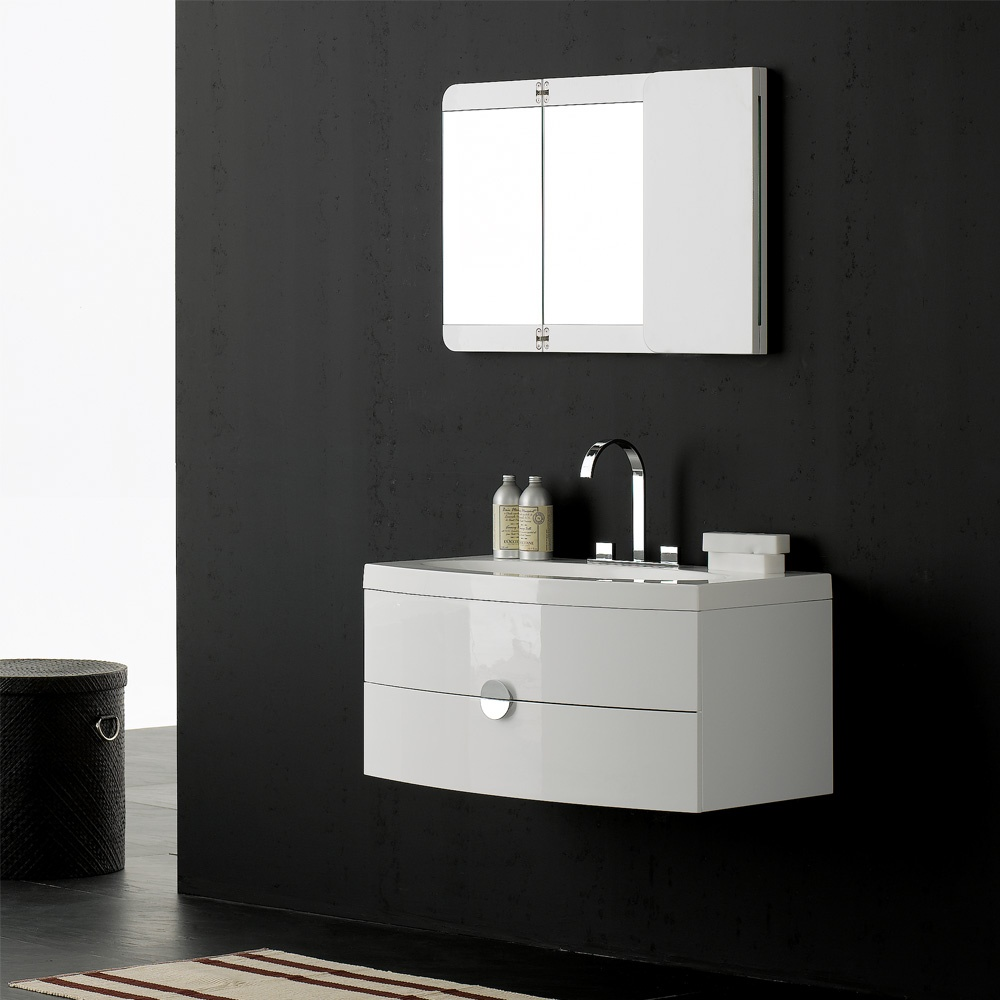 Milano stone gloss white wall mounted vanity unit - Designer wall hung bathroom vanity units ...