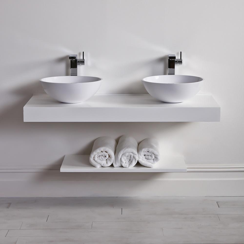 Milano Stone Countertop Vanity Shelf Basin Shelf