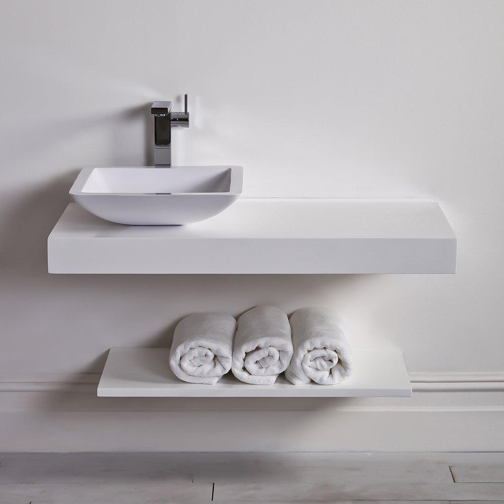 Countertop Shelf : Milano Stone Countertop Vanity Shelf Basin Shelf