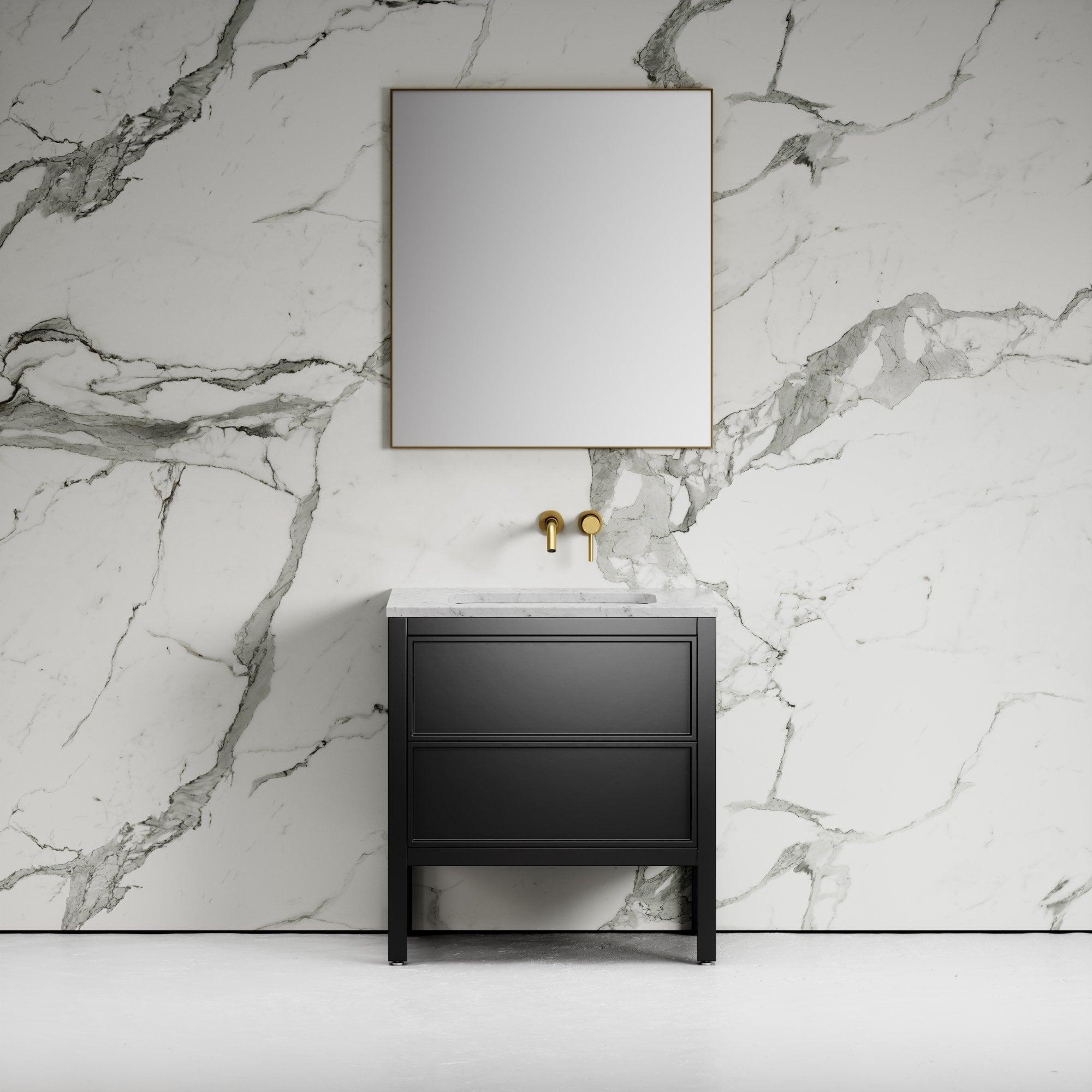 Pelham Bathroom Vanity Unit Black With Carrara Marble 800 Vanity Units