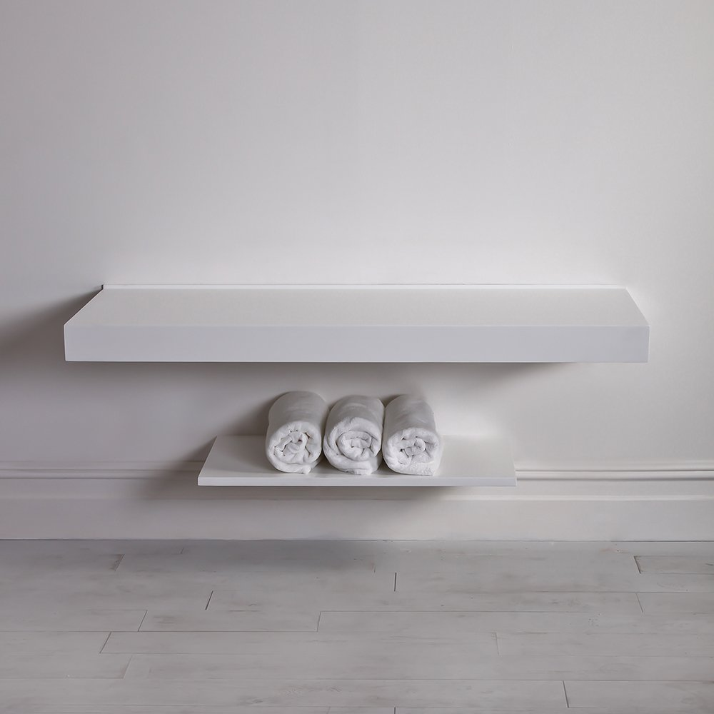 Lusso Stone Wall Hung Large Countertop Basin Shelf 1400 Vanity Units