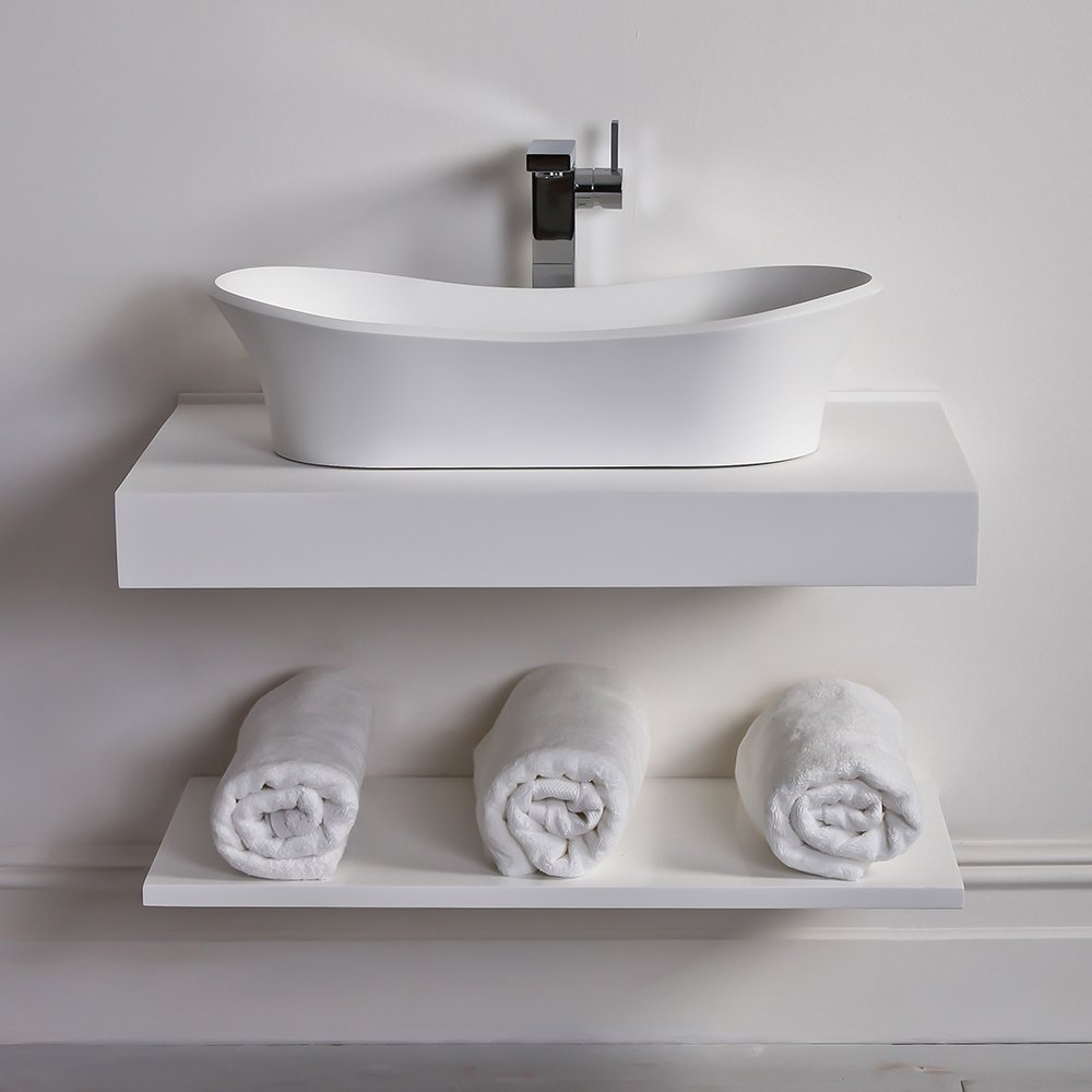 Beautiful Lusso Stone Wall Hung Slimline Countertop Basin Shelf 800