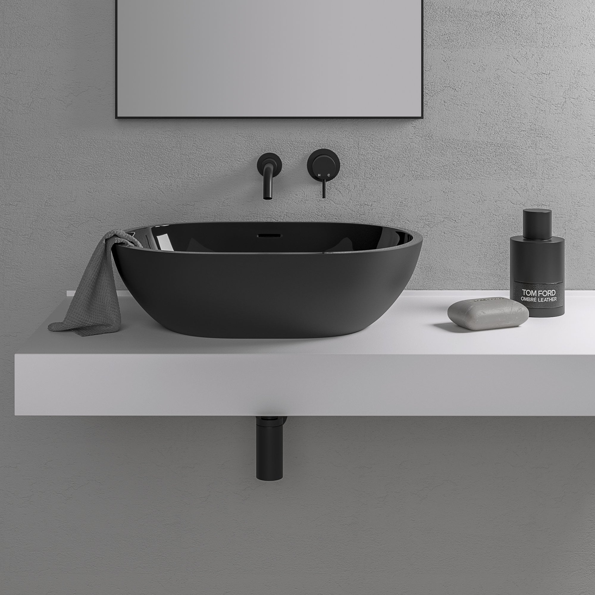 Black Resin Sink Counter Top