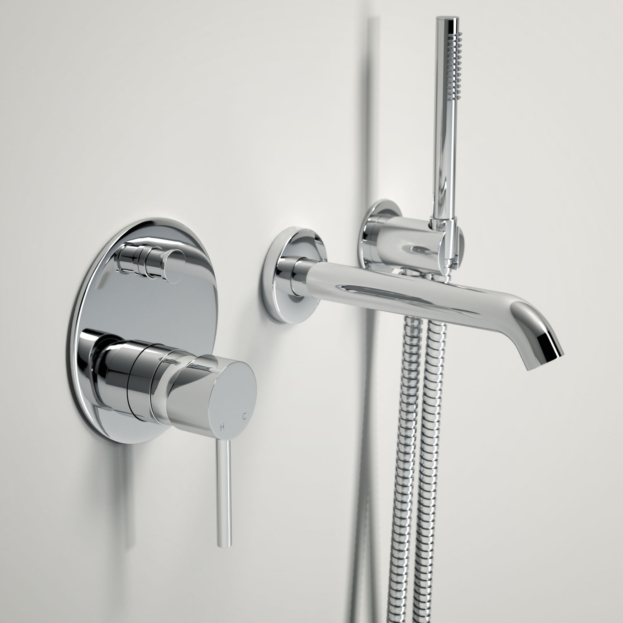 Shower From Bath Taps lusso luxe wall mounted bath tap with valve and handheld shower kit